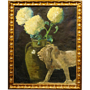 Thomas: Still Life With Lion + Mums, Oil Painting