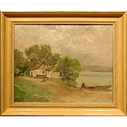 Landscape With Man Launching A Boat,c.1890 Oil Painting