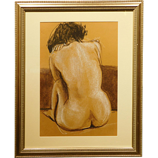 Female Nude Pastel Figure Painting/Drawing Signed EH