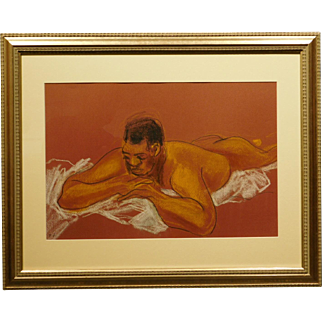 Male Nude Pastel Figure Painting/Drawing Signed EH