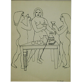 G.J. Rogers: Figure Study of Three Female Nudes Drinking
