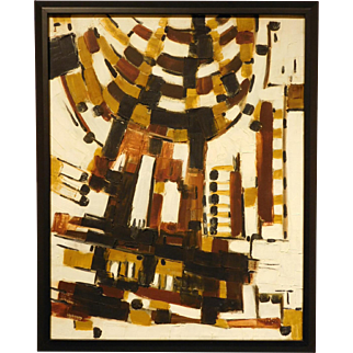 Mid-Century Abstract Oil Painting, c.1960