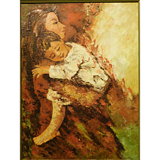 Modernist Portrait Of Mother And Child, Oil, c.1960