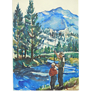 Father And Son Fishing, Watercolor c.1955