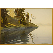 Shoreline Of Calm Lake, Watercolor