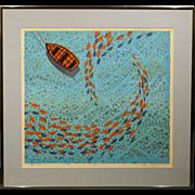 Glenn Wilcox Reef Fish II 1970 Silk Screen Print