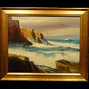 Derrick Holdsworth: Seascape with Rock Cliffs