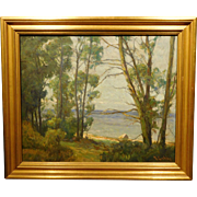 Richard Hermann Eschke, View of Lake through trees, oil on canvas