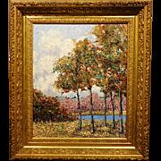 Blake Clark, Trees & Pond, Oil painting