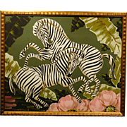 Art Deco Painting of Zebras
