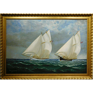 Falmouth Oyster Boats 1891 Marine Oil Painting
