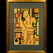 Russian Cubist Portrait of a Woman, Pastel c.1990