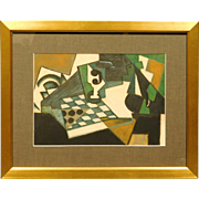 Russian Cubist Still Life Pastel Drawing c.1990