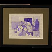 Louis Jordan Abstract Cubist watercolor