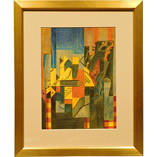Russian Abstract Cubist Pastel Drawing c.1990