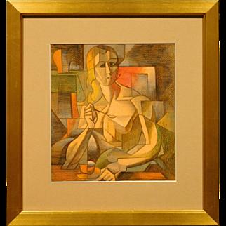 Portrait of a Woman w/ Tea Cup, Pastel c.1990