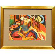 Girl With Cat c.1990 Cubist Portrait Drawing