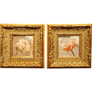 Pair of oil paintings of Roses
