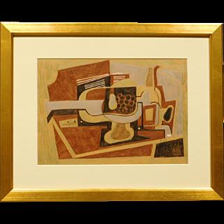 Cubist Still Life , Pastel c.1990, signed
