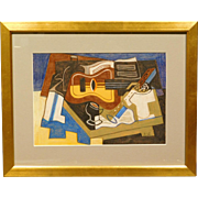 Russian Cubist Still Life w/Guitar, Drawing c.1990, signed