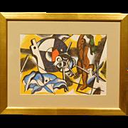 Cubist Still Life w/Keys, Pastel c.1990, signed