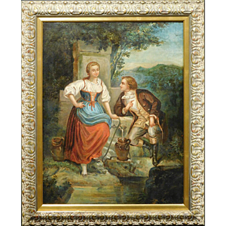 18th Century French Courting Oil Painting