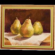 Pam Short: Three Pears pastel still life