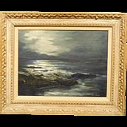 Jessica Quigley: Night Scene, seascape oil c.1980
