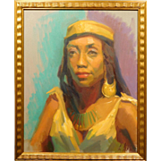 Oil Portrait of a Black Woman in Exotic Clothing, by Katya Held