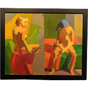 Two Abstract Female Nudes on One Canvas