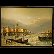 Mid-Century Modern Venice Oil Painting
