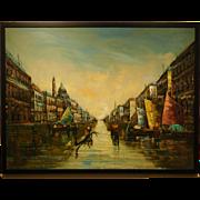 Mid Century Oil Painting of Venice