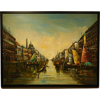 Mid Century Oil Painting of Venice