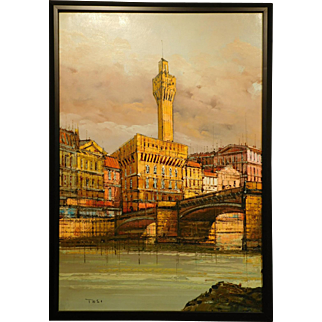 Mid-Century oil painting of Florence, Italy by Tosi