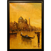 Mid-Century Venice Oil Signed DiViti