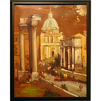 Oil painting of Rome by Guidotti