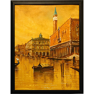 Grand Canal Venice oil painitng by A. Diviti