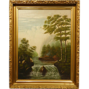 Hudson River School Oil Painting w/Waterfall & Hunters