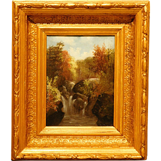 Antique Hudson River School Waterfall oil painting