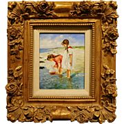 Oil painting of Two Girls with a Toy Boat at the Beach