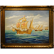 Modern painting of Galleon & Ships by Herb Hewitt