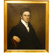 Antique Oil Portrait of a Handsome Young Man, c.1820