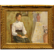 Oil Painting Portrait of a Woman Reading