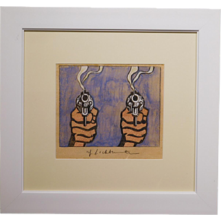After Roy Lichtenstein: Two Smoking Pistols