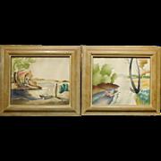 Benjamin Jorj Harris: Pair of Airbrush Pochoir Prints, c.1950