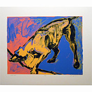 Pop Art Yellow Dog Serigraph By Julie Jankowski