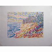 Contemporary Impressionist Marine Oil Monotype