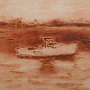 Tonalist Marine Oil Painting on Paper  By Bruce Wood