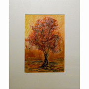 Contemporary  Tree Oil Painting On Paper