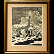 Howard Besnia 1952 Lino-Cut Of Church